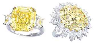 12,87 ct Fancy Vivid Yellow / VS2 и 33,88 ct Fancy Vivid Yellow / VS1